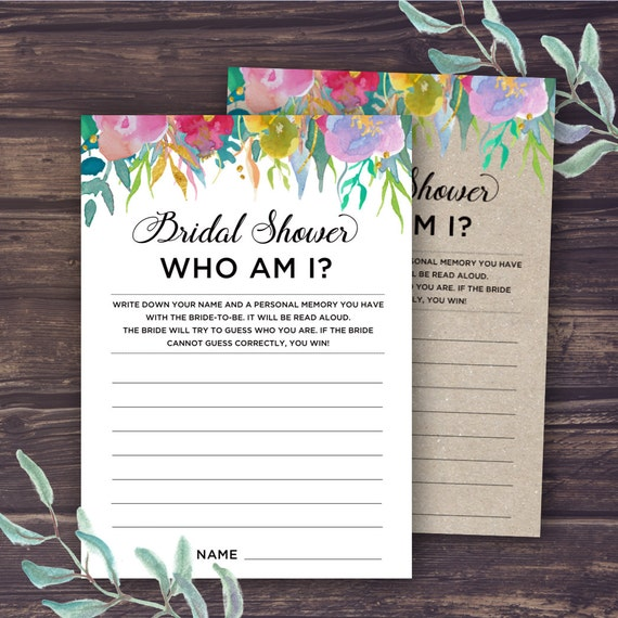 Who Am I Bridal Shower Game Printable Bridal Shower Game Ice
