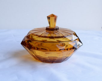 Vintage Amber Glass Candy Dish/