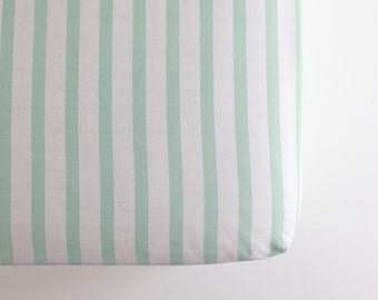 Fitted Crib Sheet - Ready to Ship - Toddler Sheet - Mint Stripe