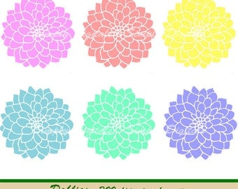 Dahlia Clipart. Flower Clipart. Wedding Clipart. Scrapbooking. Greetings. Invites. Instant Download. SD.