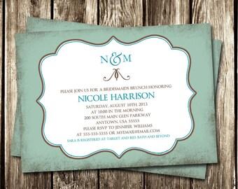 Bridal Shower Invitation   Vintage Blue Shower Invitation   DIY PRINTABLE or PRINTED   Blue Vintage Bridal Shower Invite