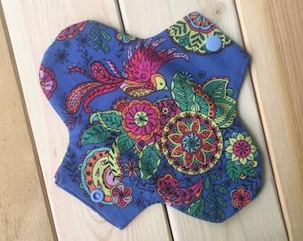 Rainbow bird reusable panty liner, cloth pad, mama cloth, pads, liners, cloth, reusable, postpartum cloth