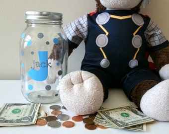 Child's Mason Jar Piggy Bank//Mason Jar Bank//Little Kid's Piggy Bank//Savings Bank//Personalized Child's Gift//Baby Shower Gift