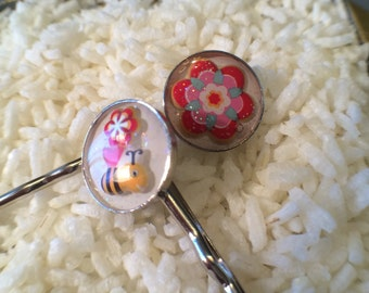 Set of 2 Resin Bobby Pins, kawaii