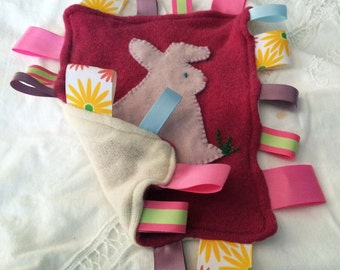 Pink Bunny Baby Taggie with multicolored ribbons