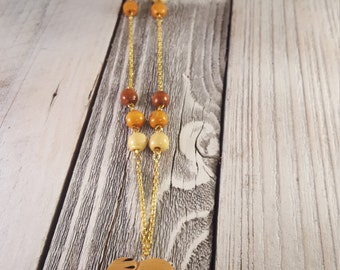 Carved Wooden Elephant Charm Necklace with Wood Beads