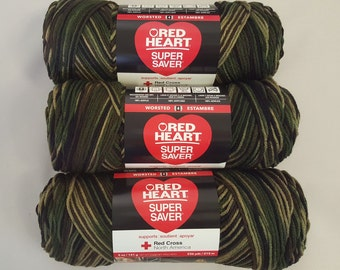 Red Heart Super Saver Yarn CAMOUFLAGE Lot of 3 Skeins 5 oz Medium 4