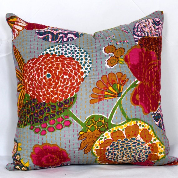 Indian decorative christmas pillows kantha pillow cover 26X26