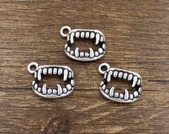 30pcs Vampire Teeth Charm Antique Silver Tone 17x12mm - SH133