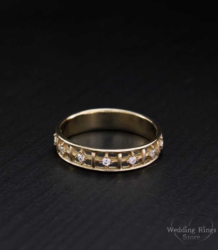 14k Solid Gold Women Band Wedding Ring Stones Women Gold