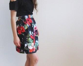 High Waisted Skirt, Pleated Skirt, Flower Skirt, Print Skirt, Red Skirt