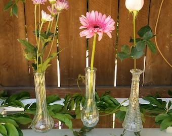 3 Vintage glass bud vases