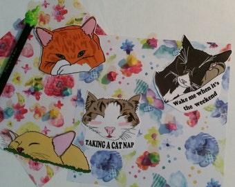Sleepy Kitty Cat Stickers X 4