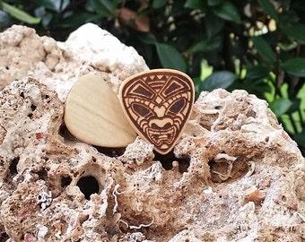 Wooden Tiki Guitar Picks, Laser Etched, Original Tiki Art Illustration, Hand-made