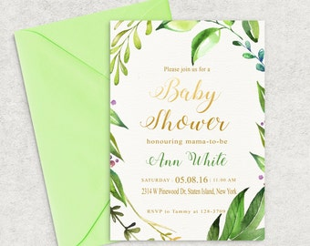 Printable Baby Shower Invitation, Green Leafs Baby Shower Invitation,Girl Baby Shower Invite,Boy Baby Shower Invite,Custom invitation, Leafs
