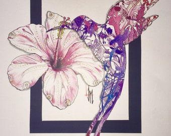 Hummingbird and hibiscus in colour format - A3 Copies numbered from 1 to 10