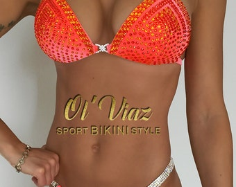Orange Velvet Competition Bikini with Crystals/Competition Suit/Posing Suit/Rhinestone Fitness