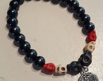 Black Pearl Series - Skulls & Piece of Eight Stretch Bracelet