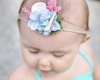 Baby Mermaid Headband OR Tieback \ Mermaid headband \ baby headband \ floral headband \ mermaid tieback \ floral tieback \ seashell headband
