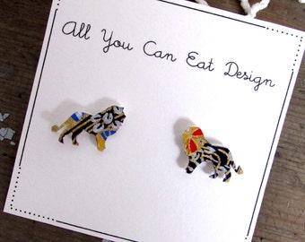 Lion earrings - lion jewelry - origami earrings - animal earrings - animal jewelry - savannah earrings - gift for her