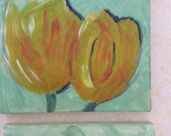 Green Tulip triptych