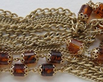 Vintage Sarah Coventry Necklace Vintage Jewelry Coventry Jewelry Costume Jewelry Amber Bead Necklace Vintage Necklace Gold Chain Necklace