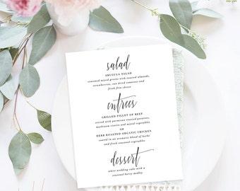 Printable Wedding Menu / Menu Cards, Wedding Menu Printable, Printable Menu - Modern Calligraphy