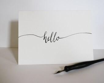 Hello Handwritten Card - Calligraphy - Modern Calligraphy
