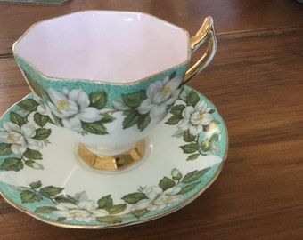 VIntage Montrose Gladstone Cup and Saucer in Green and white