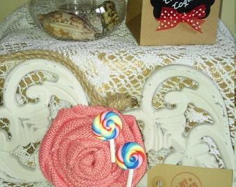 Handmade Coral/Peach Jute/Hessian Hair Rose/Fascinator/Clip/Clasp/Corsage/Brooch/Pin/Lollipop/Vintage/Retro/Pinup/Rockabilly/Bridal/Candy