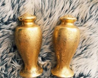 Vintage Gold Floral Salt + Pepper Shakers