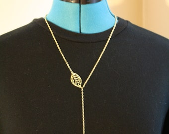 Gold Lariat Leaf Necklace