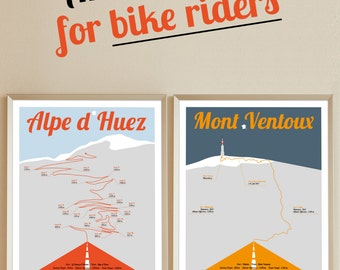 Tour de France print, Alpe d Huez and Mont Ventoux, A4 Poster, 2 bike posters, Birthdaypresent, Present for men, present for women
