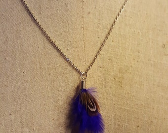 Royal Purple Feather Necklace