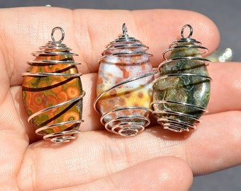 Ocean Jasper Pendants, Ocean Jasper Jewelry, Wire Wrapped Ocean Jasper, Ocean Jasper Crystal, Ocean Jasper Stone, Ocean Jasper,  (1-E)