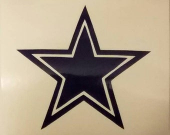 Cowboys Star Football Decal - permanent vinyl - perfect for Yeti & Rtic cups, coolers, windows, man cave decor etc.  Take it tail gating!