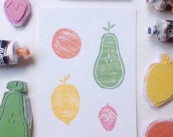 Fruit Salad - Original Block Print