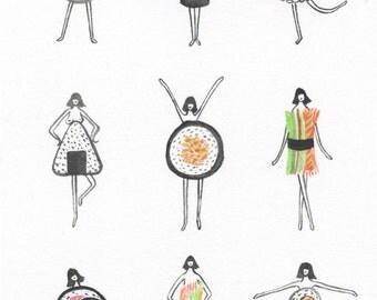 Sushi Ladies - Art Print
