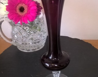 Amethyst Glass Vase, Purple Retro Glass Vase