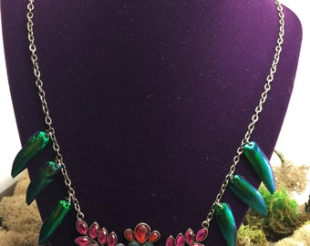 SALE! Beetle wing jeweled necklace elytra real insect jewelry