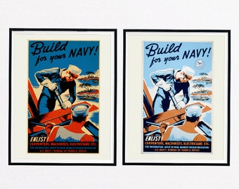 United States NAVY Recruiting Poster, Recruiting Poster, Build for your Navy!, Navy, Vintage WWII Recruiting Poster, Enlist, Army, Military