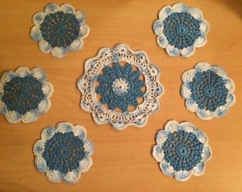 Crocheted Doilies set 7 pieces blue