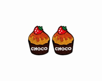 Set of 2 - The Choco Cupcake. Iron-on Patch/Flex stickers/Applique