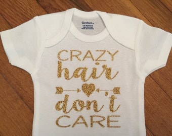 SALE! Glitter Crazy Hair Don't Care Shirt, Hospital Baby Outfit, Glitter Girly Bodysuit, Infant Onesie®, Girl Bodysuit, Baby Shower Gift