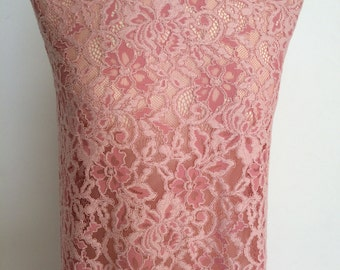 Pink lace fabric, pink alencon lace