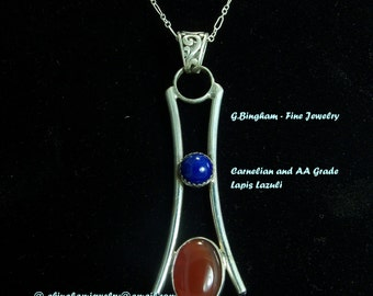 Carnelian and AA Lapis Necklace GB 025