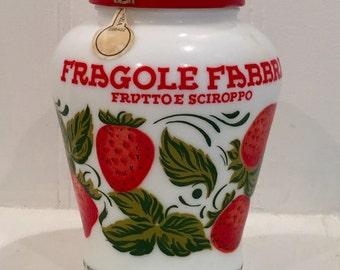 Vintage  Milk Glass, Vintage Milk Glass Jam Jar, Fragole Fabbri 1980's Milk Glass