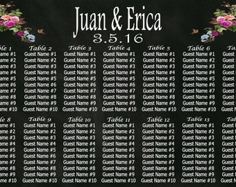 Wedding Seating Chart PRINTED Poster - Wedding Seating Chart Sign - Chalkboard Seating Chart - Wedding Sign - Wedding Attendee Seating