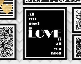 XO McCartney Lennon,All you need is LOVE-LOVE Is All You Need,Art Print,Beatles Art Print,Beatles Wall Art,Digital Beatles Print,8X10 Print