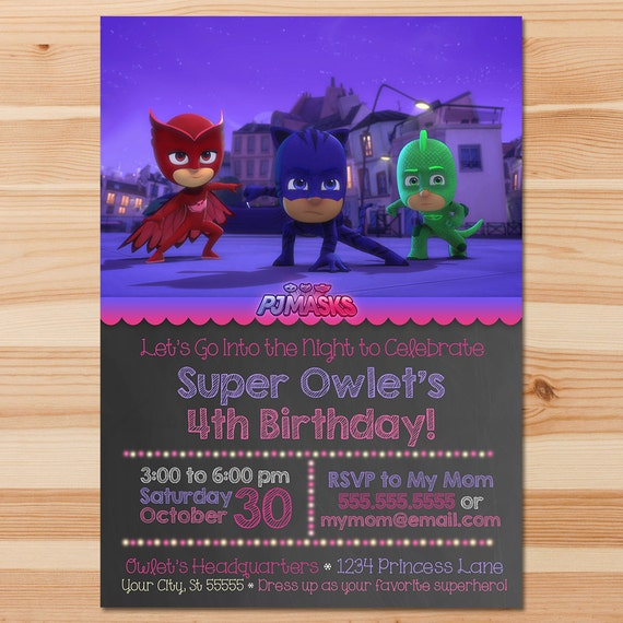 PJ Masks Birthday Invite - Pink Chalkboard - Girl PJ Masks Invitation - PJ Masks Birthday Party - Pj Masks Party Printables - Custom Invite